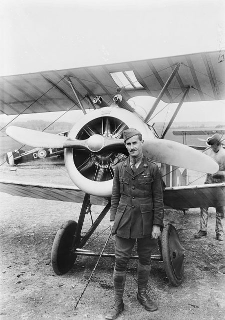 Portrait of Major Wilfred Ashton McCloughry MC, the Commanding Officer of No. 4 Squadron AFC, and his Sopwith Camel, June 6, 1918.