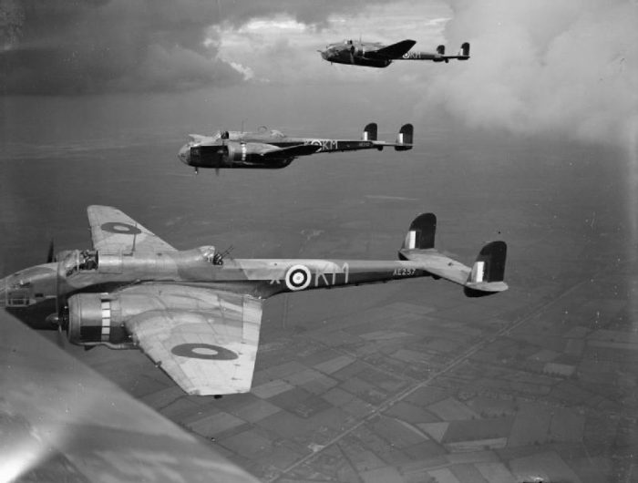 Hampdens of No 44 Squadron on a practice flight, September 1941.