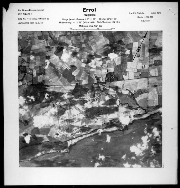 Scanned image of a Luftwaffe vertical aerial photograph of Errol airfield and the surrounding area. © Historic Environment Scotland (Luftwaffe: Aerial Reconnaissance (Scotland)).