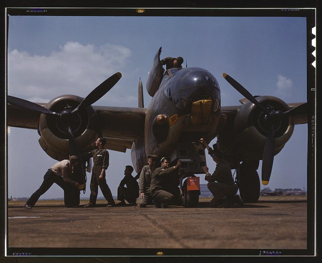 Servicing an A-20 bomber, Langley Field, Virginia.