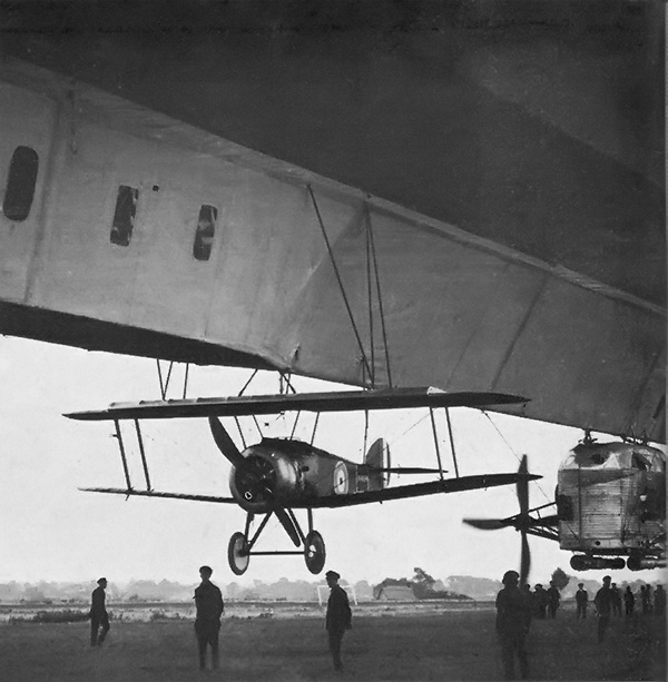 Sopwith 2F.1 Camel suspended from airship R 23 prior to a test flight.