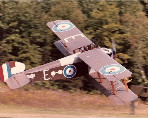 """Sopwith Dolphin reproduction built by James Henry """"Cole"""" Palen Jr, founder of Old Rhinebeck Aerodrome, in flight during one of the museum's early-1980s airshows. Photo JeffreyDMillman CC BY-SA 3.0."""