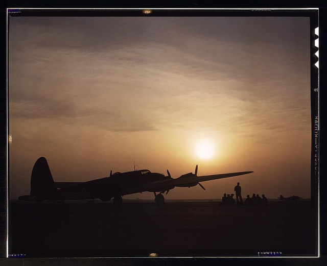 Sunset silhouette of B-17 Flying Fortress, Langley Field, Virginia.