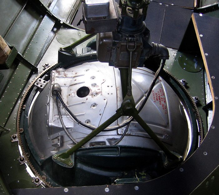 The ball turret inside B-17 'Aluminium Overcast'. Image by Mark Wagner CC BY 2.5