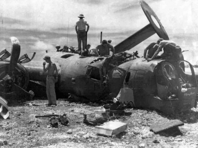 """The Consolidated B-24 bomber """"The Chambermaid"""" after an emergency landing"""