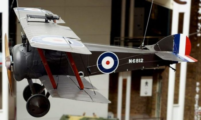The Sopwith 2F.1 Camel used to shoot down Zeppelin L 53, at the Imperial War Museum, London. Note mounting of twin Lewis guns over the top wing.