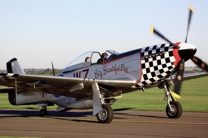 This particular P-51 crashed at Duxford Aerodrome in 2011 after a Douglas A-1 Skyraider clipped the aircraft. Image by Tim Felce CC BY-SA 2.0.