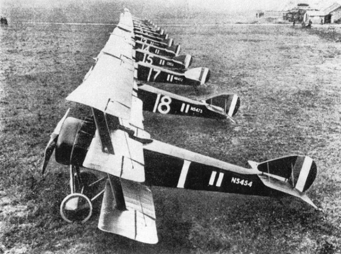 Triplanes of No. 1 Naval Squadron at Bailleul, France.