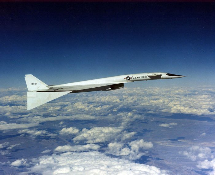 The Xb-70's incredible shape during flight.