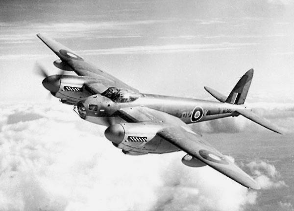 A Royal Air Force de Havilland Mosquito B.XVI in flight.