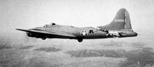 """Boeing B-17F-5-BO (S/N 41-24406) """"All American III"""" of the 97th Bomb Group, 414th Bomb Squadron, in flight after a collision with an ME-109 over Tunis. The aircraft was able to land safely at her home base in Biskra, Algeria."""