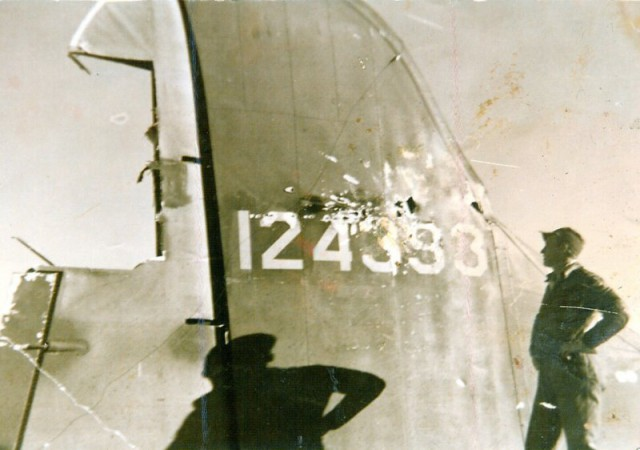 B-17 Eager Beaver Tail Damage (C. 1942). Serial No. 124393 full of holes.