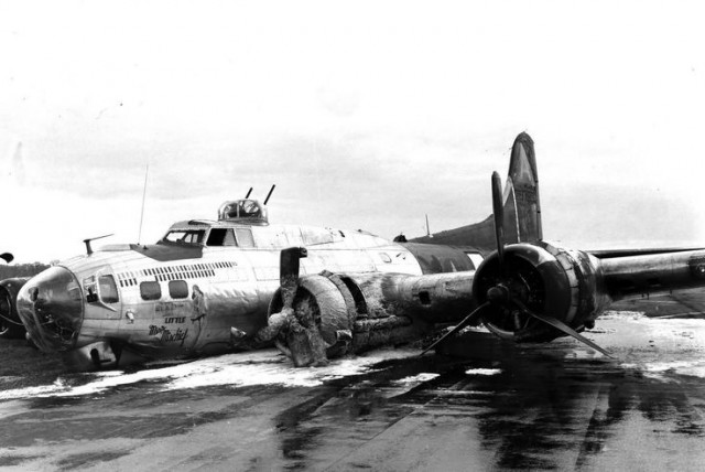 B-17 Little Miss Mischief after an emergency landing in Bassingbourn