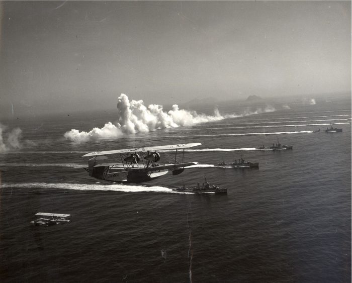 Patrol squadrons lay a smoke screen during a demonstration off San Diego, California, 14 September 1936.