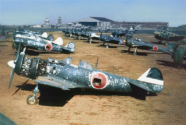 Ki-84s, Ki-43s on a JAAF base post-war.