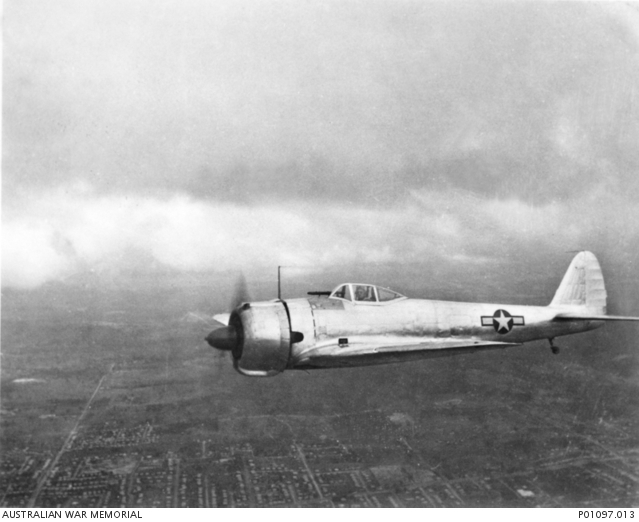 Nakajima Ki-43-I Hayabusa aircraft in flight over Brisbane, Queensland (Australia) in 1943.