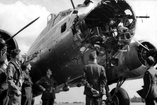 Two shots of a B-17 from the 379th Bomb Group with most of the nose missing
