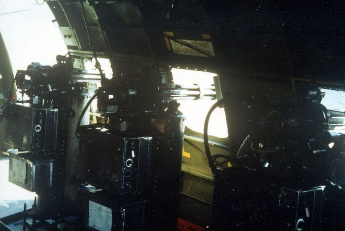 Internal view of the three miniguns.