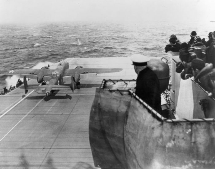 A U.S. Army Air Force North American B-25B Mitchell bomber taking off from the U.S. Navy aircraft carrier USS Hornet (CV-8) during the Doolittle Raid on 18 April 1942.