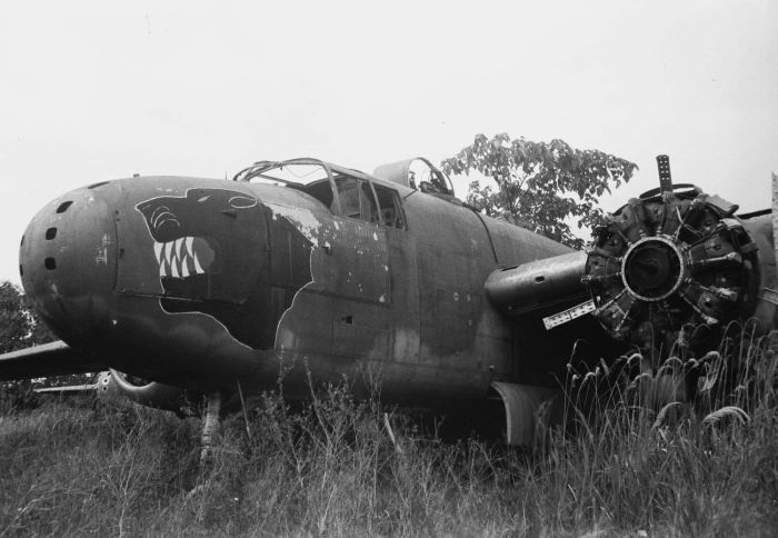 Abandoned B-25J bomber of 822nd Bomb Squadron of 38th Bomb Group of US 5th Air Force, 25 January 1949