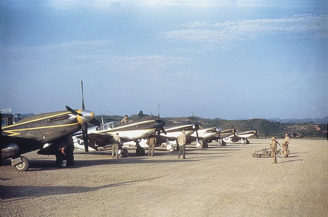 P-51B and P-51C Mustang fighters of the US Army Air Force 118th Tactical Recon Squadron at Laohwangping Airfield, Guizhou Province, China, Jun 1945.