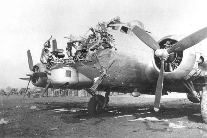 B-17G of the 8th AF 398th BG 601st BS which was damaged on a bombing mission over Cologne, Germany, on 15 October 1944; the bombardier was killed.