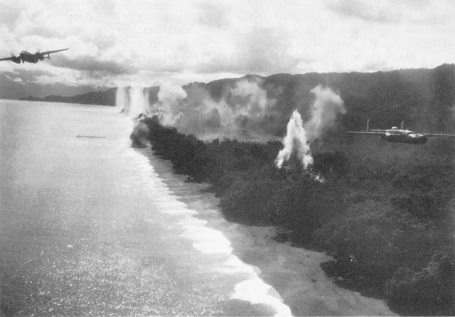 B-25 leaving installations aflame in the Wewak area, 13 August 1943.