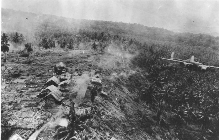 B-25D 'Red Wrath' bombing anti-aircraft sites, Wewak & Boram, New Guinea, 16 October 1943.