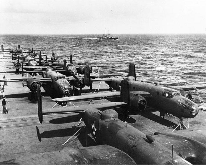 Doolittle Raid B-25Bs aboard USS Hornet