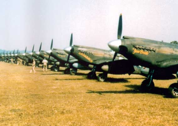 P-51 Mustang fighters at rest at an airfield in Burma, date unknown.