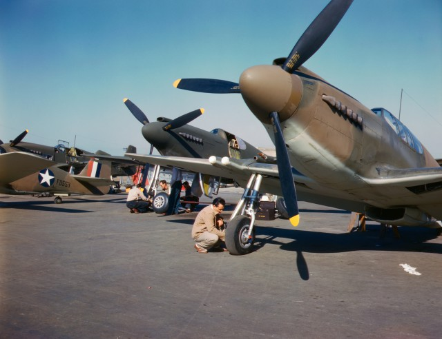 P-51 Mustang fighters being prepared for test flight, North American Aviation, Inglewood, California, United States, Oct 1942