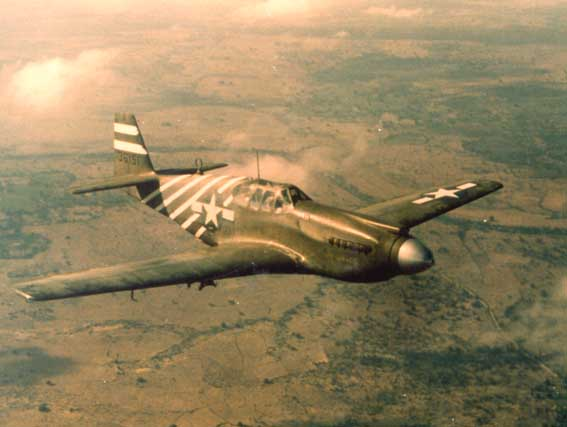 P-51A Mustang fighter of US 311th Fighter Group in flight over Burma, 1943-1945