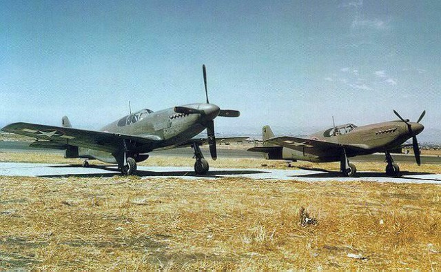 P-51B & P-51A Mustang fighters side-by-side at North American Aviation plant at Inglewood, California, United States, 1943