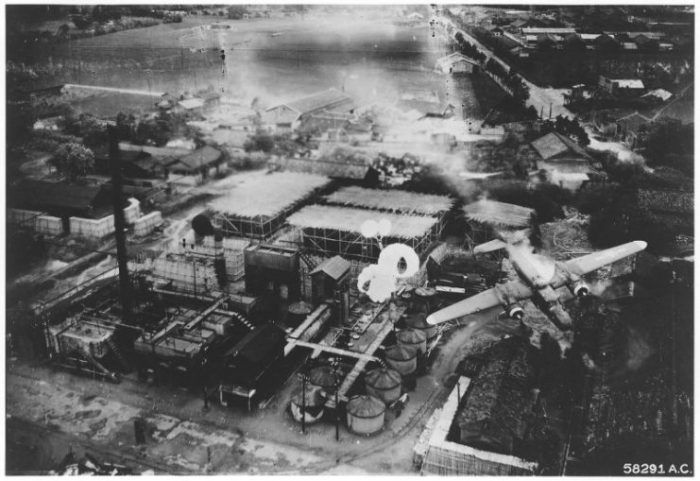 Spectacular crash at Byoritsu oil refinery, Formosa, was photographed by a B-25 of the 5th Air Force's 345th Bomb Group on 26 May 1945.