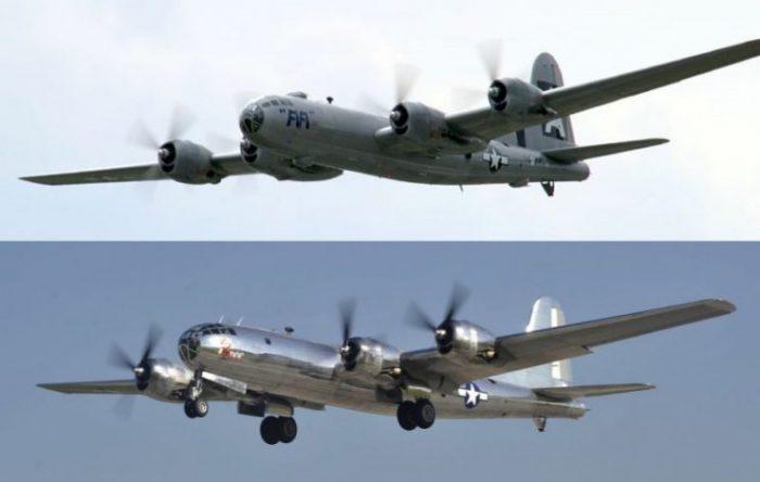 The two remaining flyable B-29s FIFI photo Tesla3335 (top) and Doc (bottom) photo Erin McClellan CC BY-SA 4.0