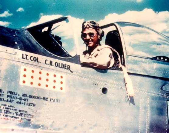 US pilot Lieutenant Colonel C. H. Older in the cockpit of a P-51D Mustang fighter, China, circa Feb-Mar 1945