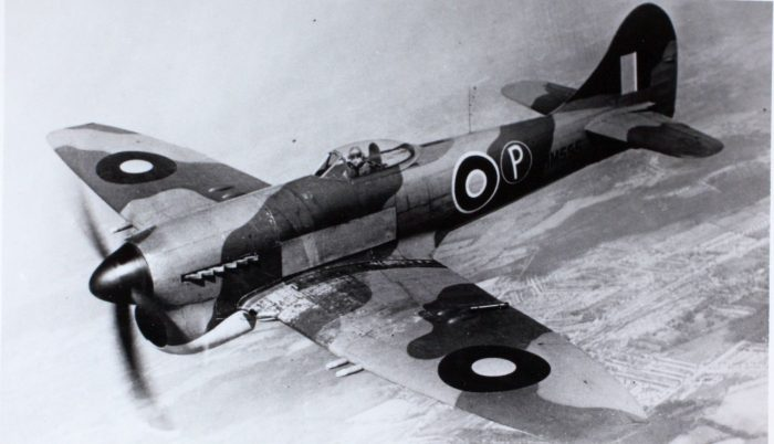 The Hawker Tempest had a speed of around 400 mph at sea level, and up to 435 mph at 17,000 ft. This combined with its powerful 20 mm cannons made it ideal for hunting V-1s.