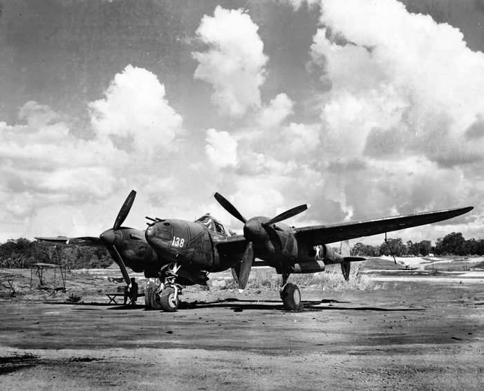 A P-38 on an airfield on Guadalcanal in 1943. It was well suited to the long range missions over the Pacific ocean.