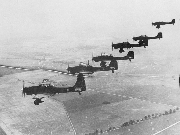 The aircraft's name is a shortened version of Sturzkampfflugzeug or 'dive-bomber' in German. Image by Bundesarchiv CC BY-SA 3.0 de.